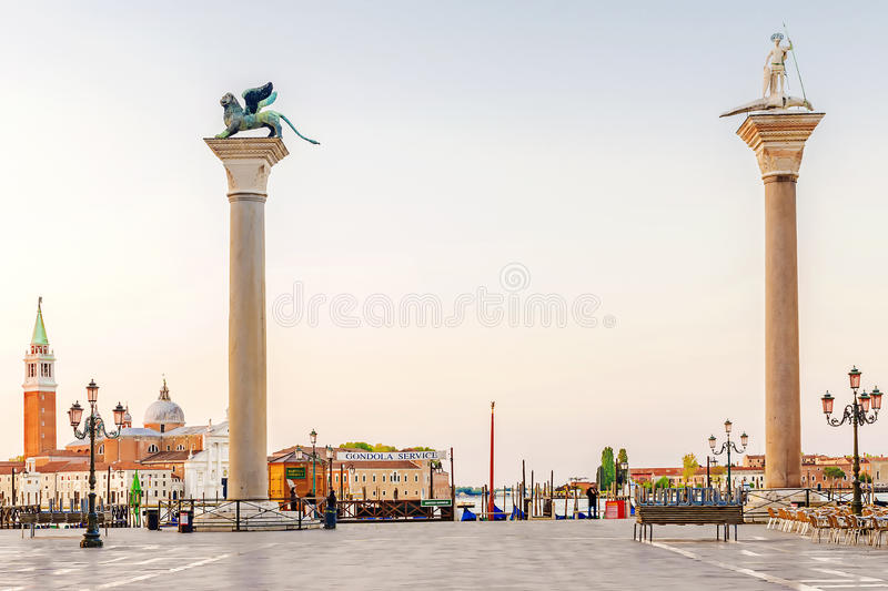 Morning view of San Marco Square in Venice.info in Italian: gondola service.  stock photos