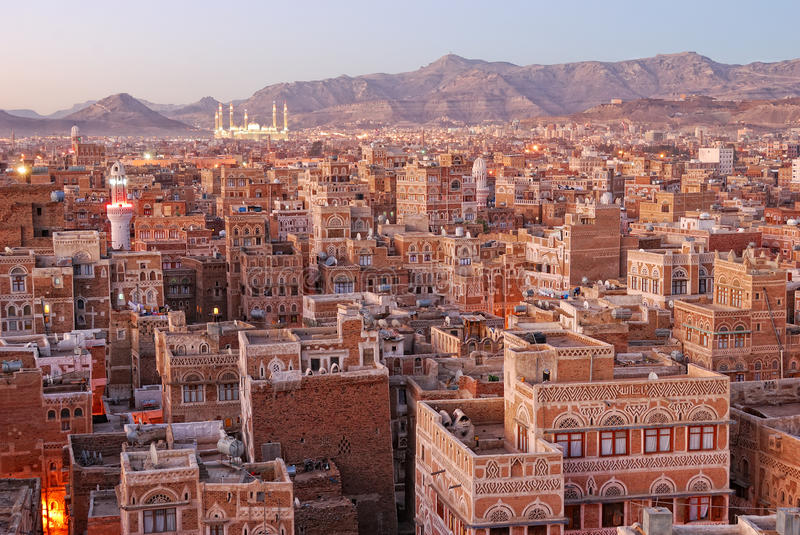 Morning view on Sanaa royalty free stock image