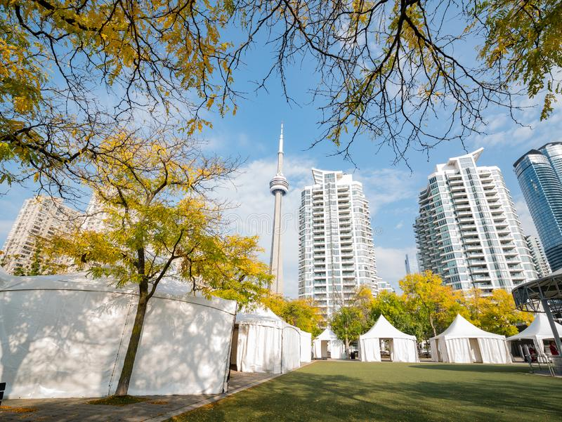 Morning view of some modern residence building with fall color and CN Tower. At Tornoto, Canada stock photo