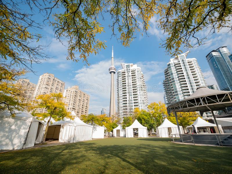 Morning view of some modern residence building with fall color and CN Tower. At Tornoto, Canada royalty free stock photo