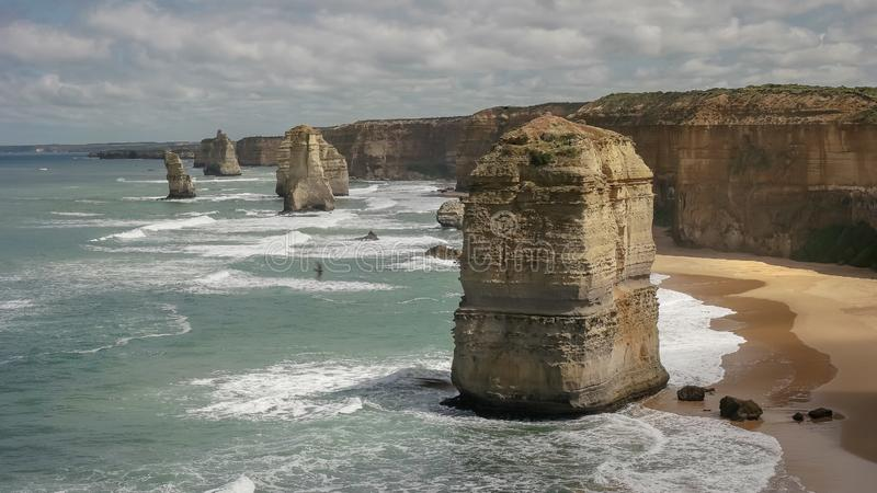 Morning view to the west of the twelve apostles on the great ocean road. In victoria, australia royalty free stock photography