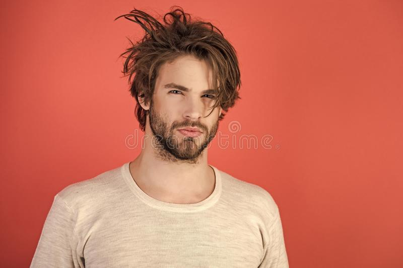 Morning wake up, everyday life. Barber and hairdresser, male fashion. Insomnia, energy, single with uncombed hair. Man with disheveled hair in underwear stock photo