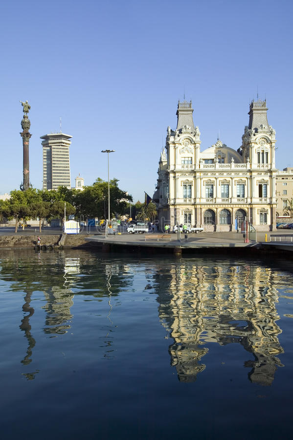Morning water reflections of building at Port Vell, Old Harbor, Barcelona, Spain stock photo