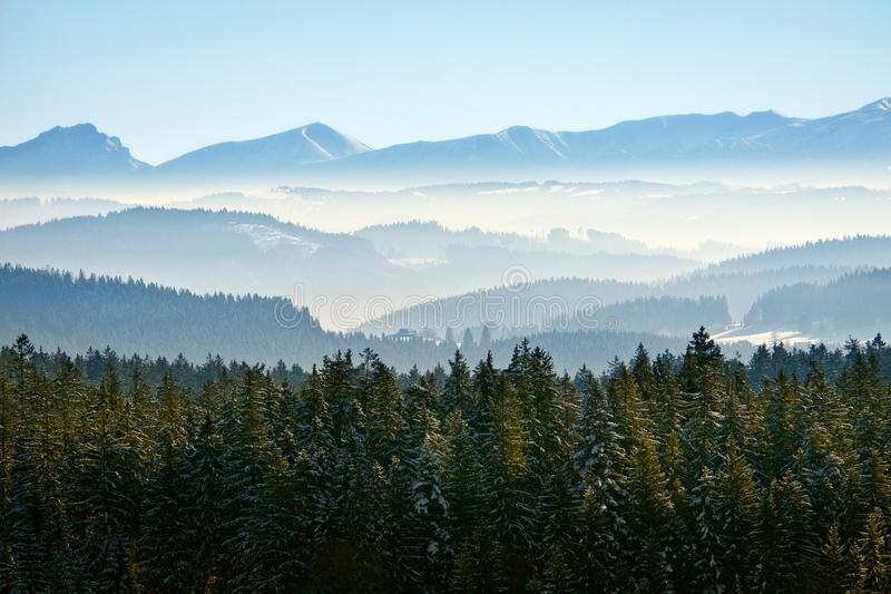 Morning winter calm mountain landscape royalty free stock photo