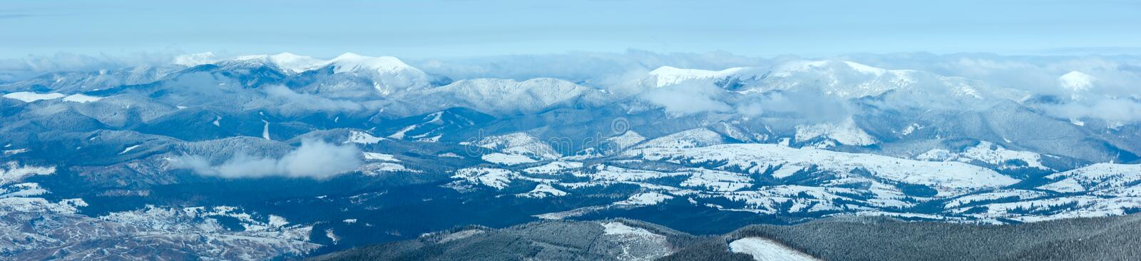 Morning winter mountain panorama. royalty free stock photos