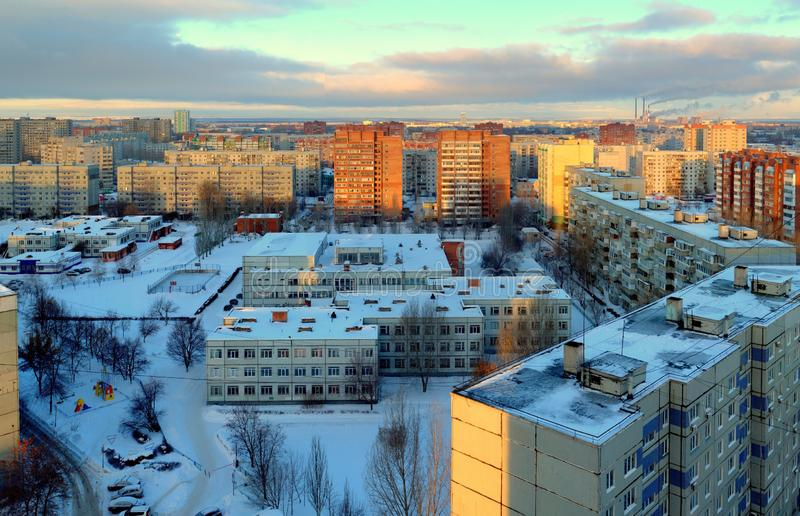Morning winter panorama of the city of Togliatti at sunrise. royalty free stock photography