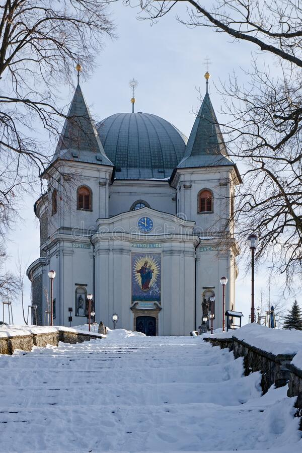 Free Morning Winter Photo Of Basilica And Stairs At St. Hostyn, Moravia, Czech Republic. Stock Image - 187503471
