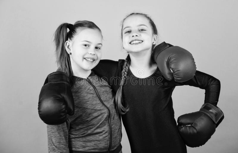 Morning workout. Happy children sportsman in boxing gloves. Fitness diet. energy health. workout of small girls boxer in royalty free stock photo