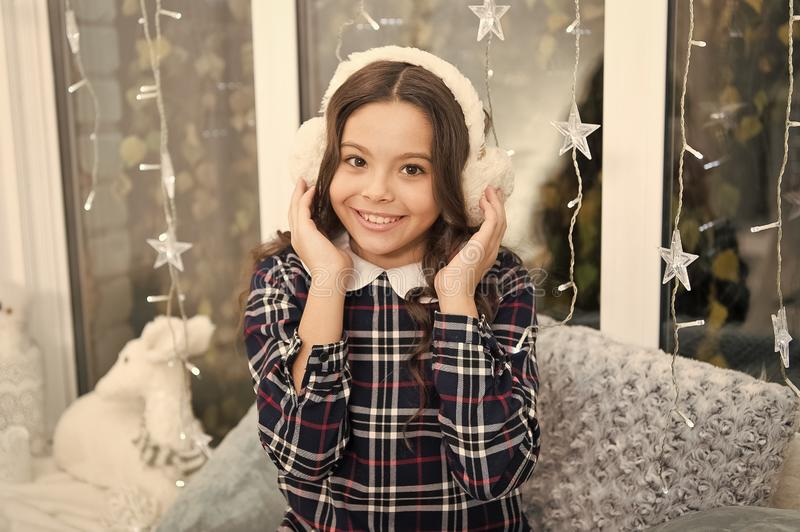 The morning before Xmas. Cute little child girl with xmas present. happy new year. Christmas shopping. waiting for santa. Winter. christmas family holiday. she stock images
