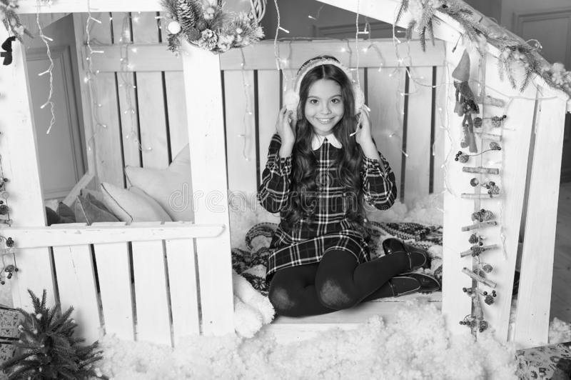 The morning before Xmas. Cute little child girl with xmas present. happy new year. Christmas shopping. waiting for santa. Winter. christmas family holiday. New stock image
