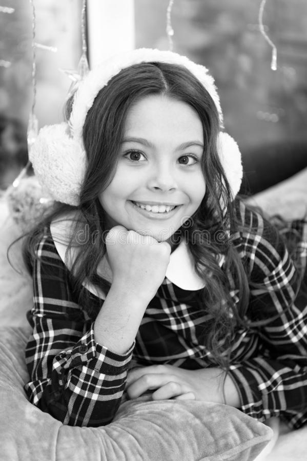 The morning before Xmas. Cute little child girl with xmas present. happy new year. Christmas shopping. waiting for santa. Winter. christmas family holiday royalty free stock photography