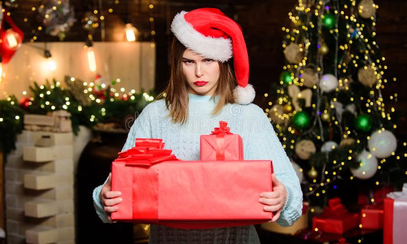 Morning before Xmas. Happy new year. Family celebration. Christmas tree. Winter holiday. naughty in santa hat. Christmas stock images