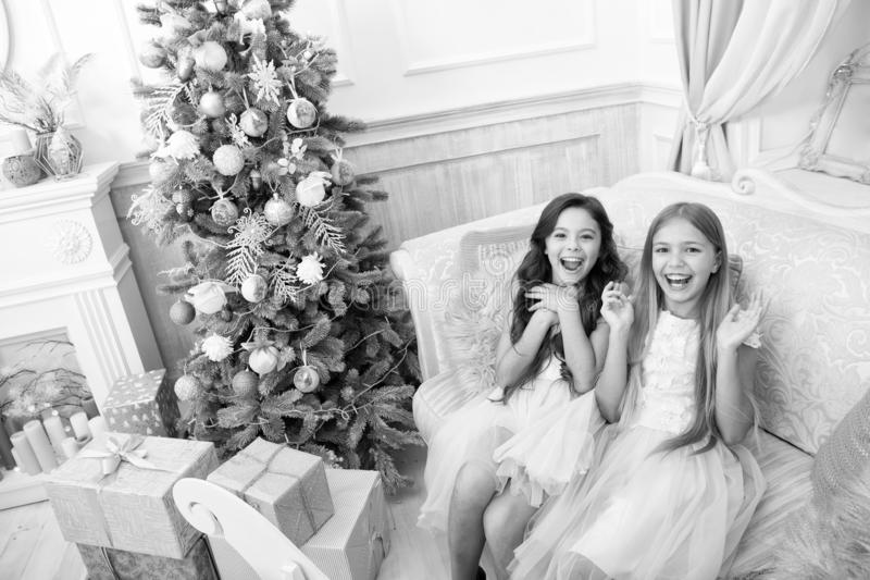 The morning before Xmas. Our home. Little girls. Happy new year. Winter. xmas online shopping. Family holiday. Christmas. Tree and presents. Child enjoy the royalty free stock photo