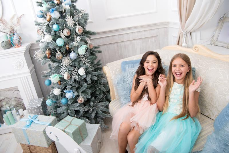 The morning before Xmas. Our home. Little girls. Happy new year. Winter. xmas online shopping. Family holiday. Christmas stock photography