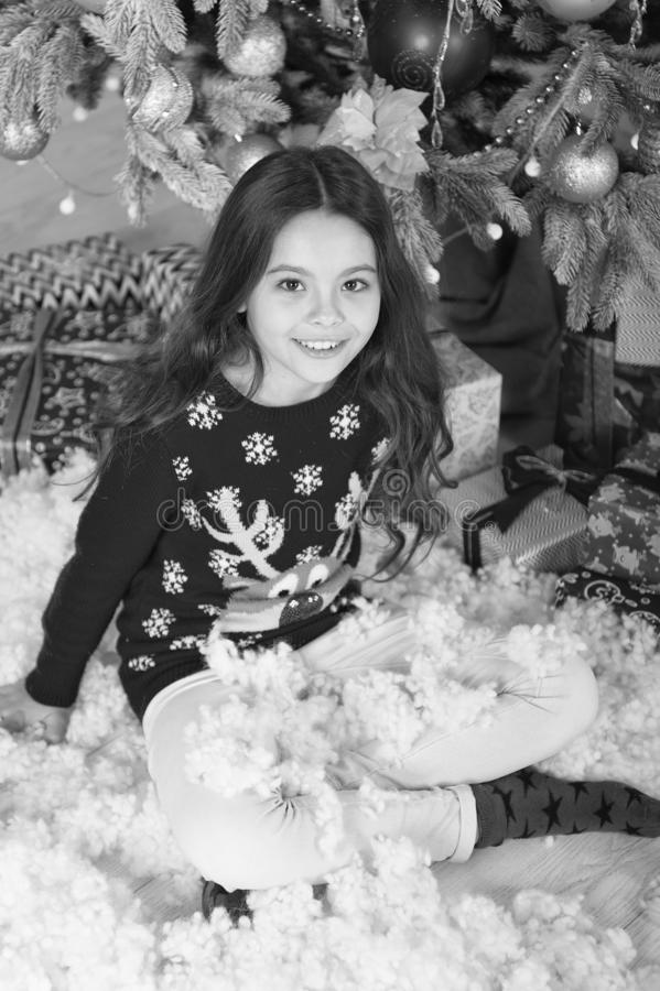 The morning before Xmas. waiting for santa. Xmas. christmas family holiday. happy new year. Christmas shopping. Cute. Little child girl with xmas present royalty free stock images