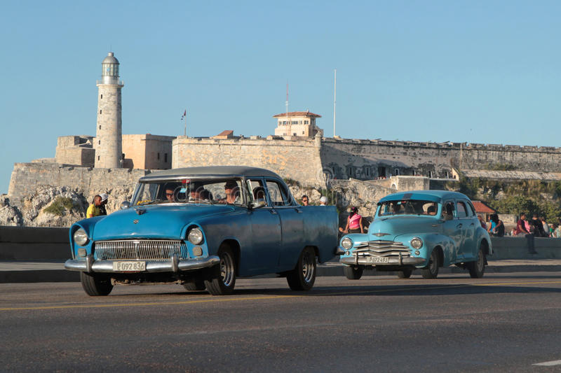 Moro Fortress and Classic old American cars royalty free stock photography