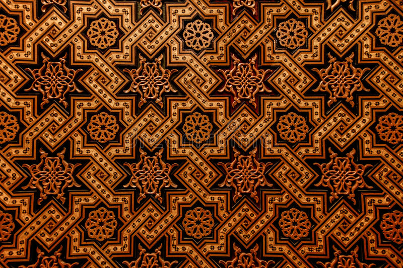 Moroccan Arabesque Carved Wood Wall Stock Photo Image