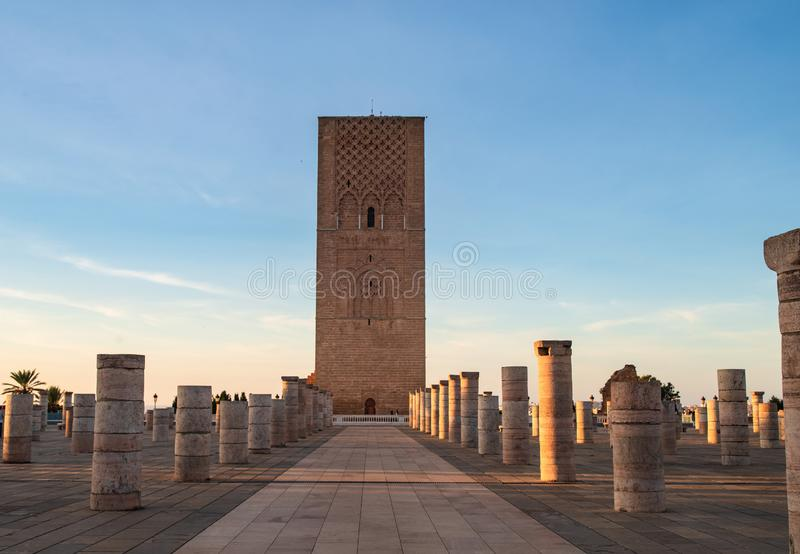 Moroccan architectural features of the mausoleum of Hassan V. Rabat, northern Africa ,Moroccan architectural features of the mausoleum of Hassan V  , royalty free stock image