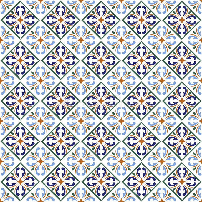 Moroccan blue tiles print or spanish ceramic surface vector pattern texture stock illustration
