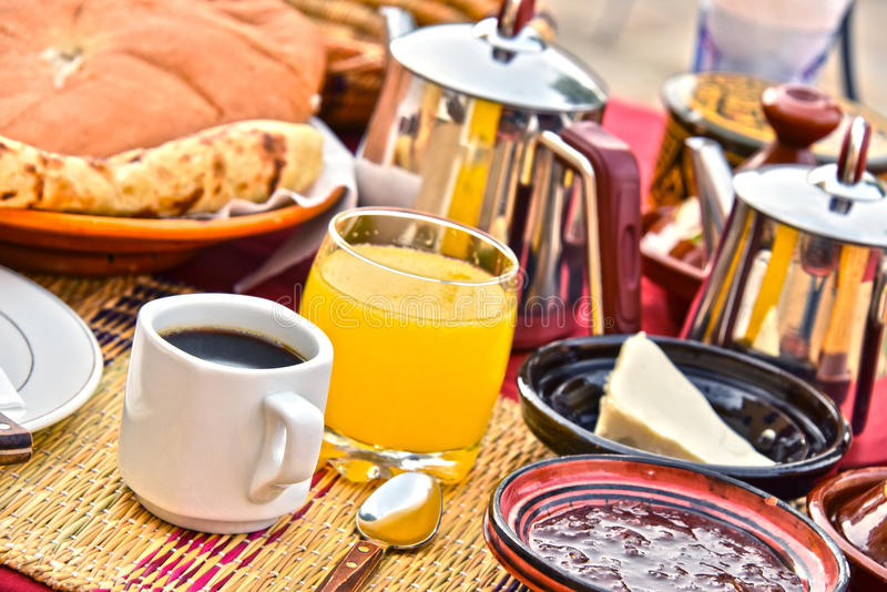 Moroccan breakfast served on hotel terace in Atlas Mountains royalty free stock photography