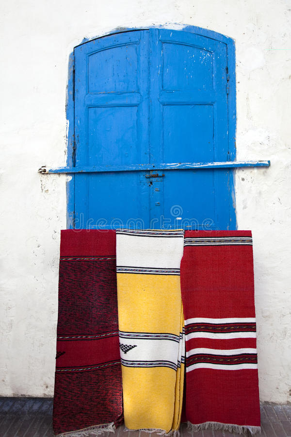 Moroccan carpets in the streets of Essaouira. Morocco royalty free stock image