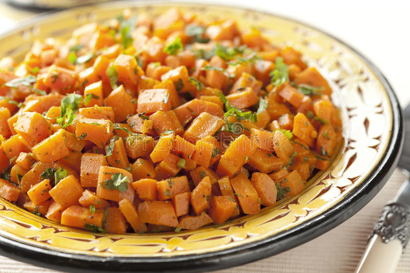 Moroccan carrot salad. Close up royalty free stock photography