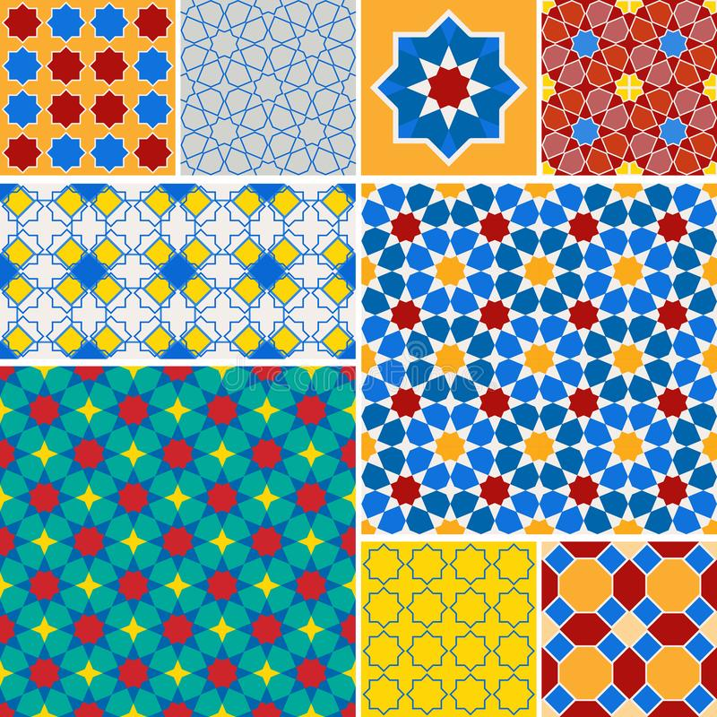 Moroccan collection seamless pattern, Morocco. Patchwork mosaic traditional folk geometric ornament blue red green orange yellow. vector illustration