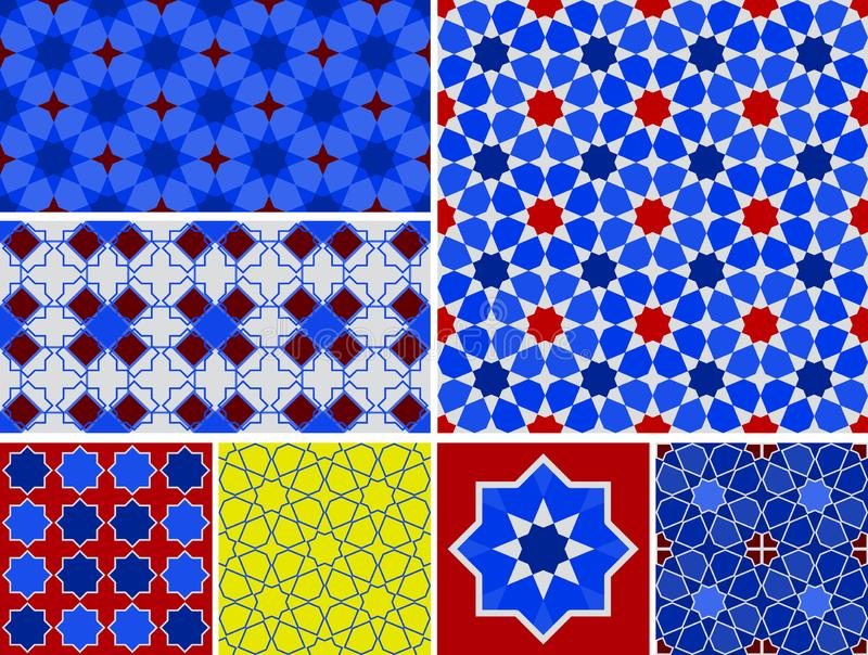 Moroccan collection seamless pattern, Morocco. Patchwork mosaic traditional folk geometric ornament burgundy navy blue cobalt red stock illustration