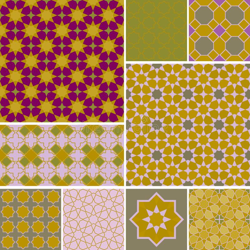 Moroccan collection seamless pattern, Morocco. Patchwork mosaic traditional folk geometric ornament mauve pink wine gold copper stock illustration