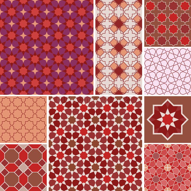 Moroccan collection seamless pattern, Morocco. Patchwork mosaic traditional folk geometric ornament red pink brown claret. Tribal royalty free illustration