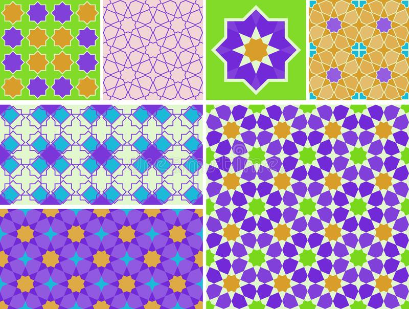 Moroccan collection seamless pattern. Patchwork mosaic traditional folk geometric ornament burgundy blue green violet orange vector illustration