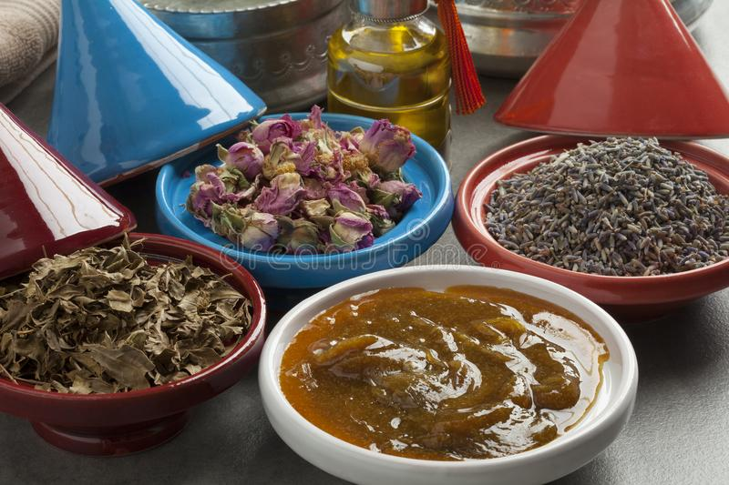 Moroccan cosmetic hamam herbs royalty free stock image