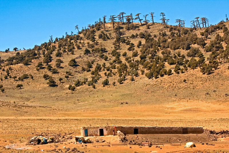 Moroccan desert landscape stock photo