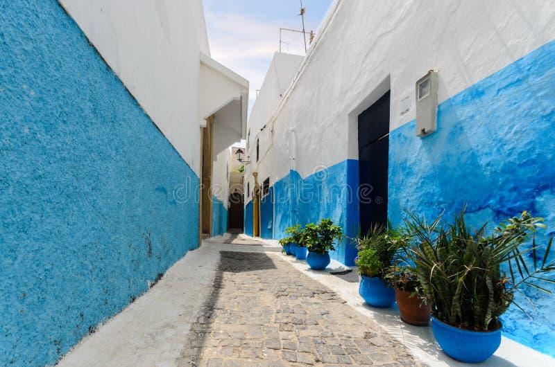 Moroccan door in a street of Rabat stock photography