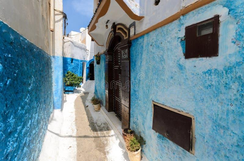 Moroccan door in a street of Rabat stock image