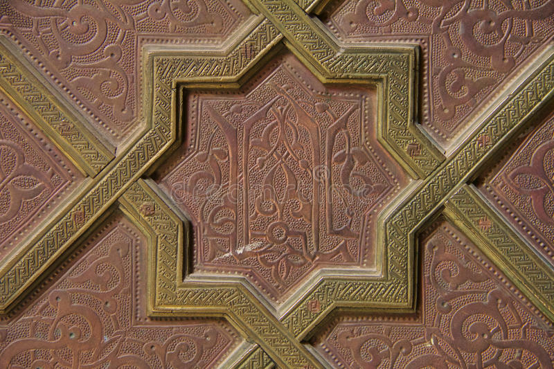 Moroccan embossed metal panel royalty free stock image