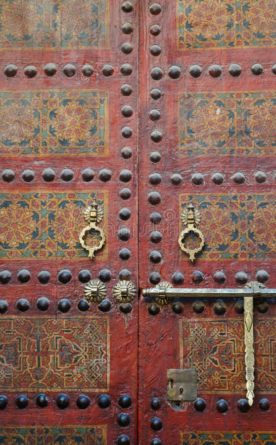 Moroccan entrance. Mosque Sidi Ahmed Tijani in Fez, Morocco. royalty free stock images