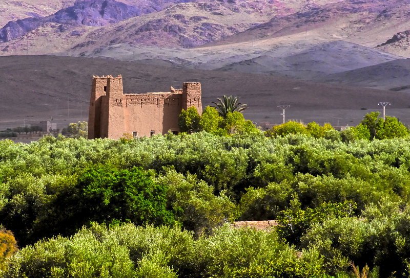Moroccan fortress no.1. Moroccan fortress in an oasis in a mountain valley stock photo