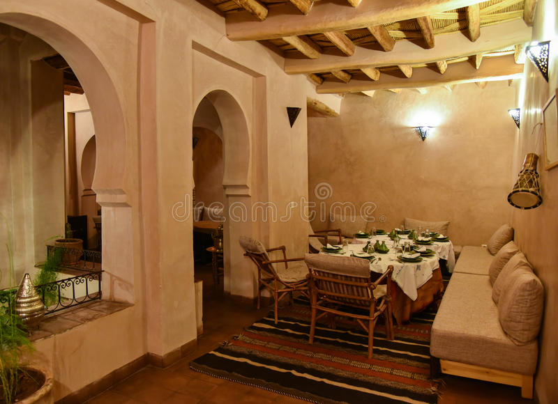 Moroccan House Riad Interior Dining Area Stock Photo