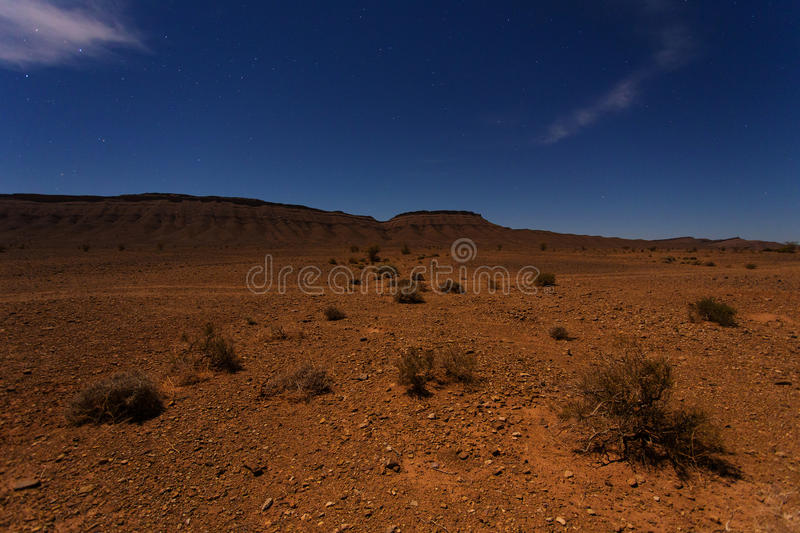 Moroccan landscape at night stock photography