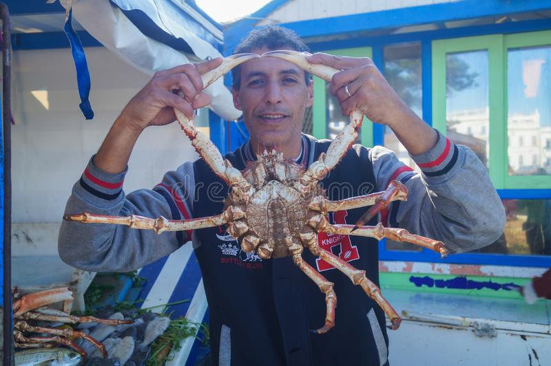 The Moroccan Man holds a huge crab in front of him in Essaouira. The Moroccan Man is holding a huge crab in front of him in Essaouira, Morocco. January 5, 2018 royalty free stock photo