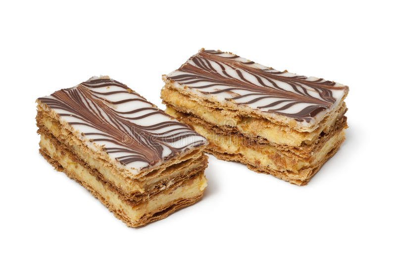 Moroccan mille feuille pastries. On white background royalty free stock images