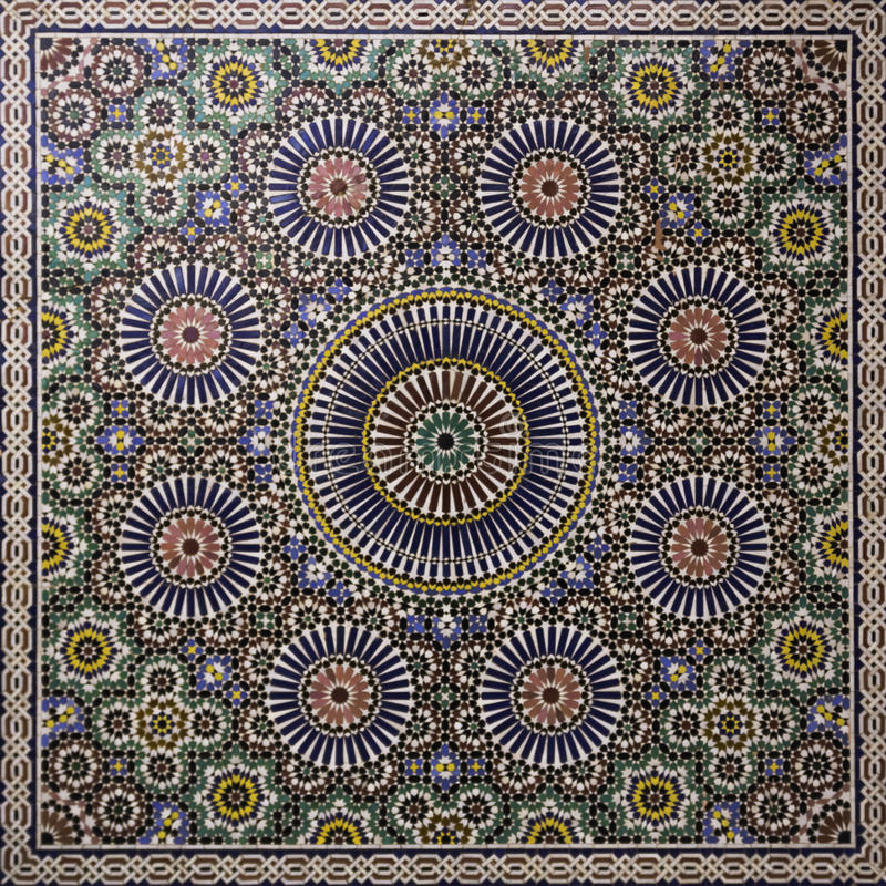 Moroccan mosaic. A colorful moroccan hand made mosaic wall stock photo
