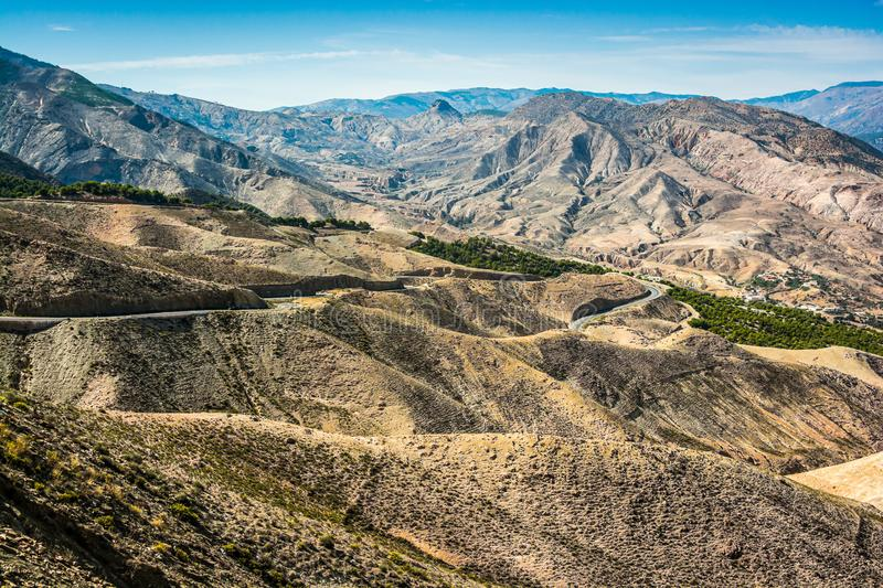 Moroccan mountains between cities Taza and Al Hoceima on north of Morocco.  royalty free stock photography