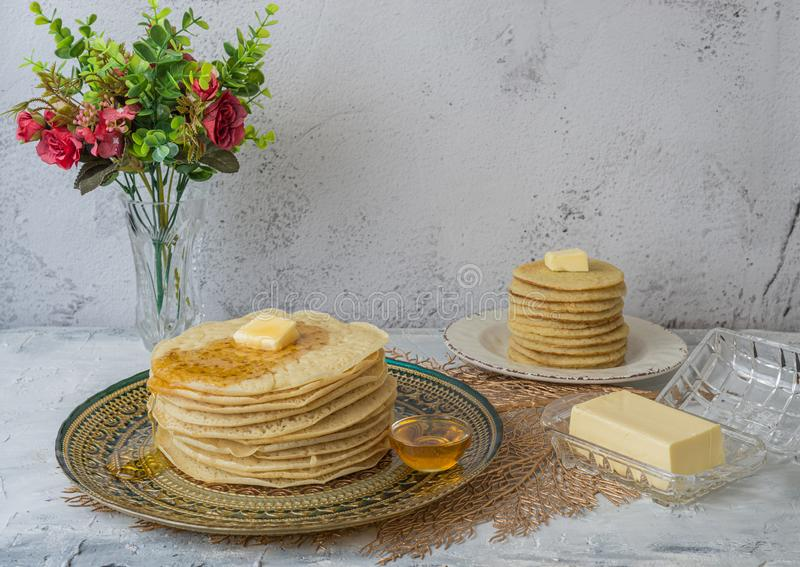 Moroccan pancakes Baghrir  Beghrir or crapes with 1000 holes royalty free stock photos
