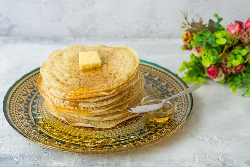 Moroccan pancakes Baghrir  Beghrir or crapes with 1000 holes stock photo
