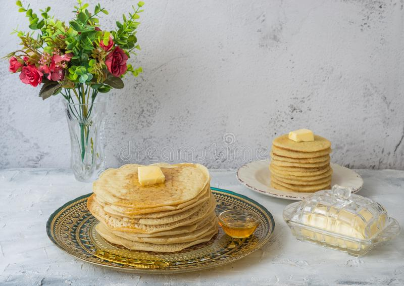 Moroccan pancakes Baghrir Beghrir or crapes with 1000 holes stock image