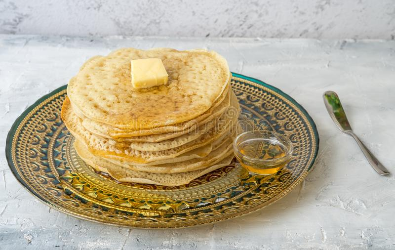 Moroccan pancakes Baghrir Beghrir or crapes with 1000 holes royalty free stock photo