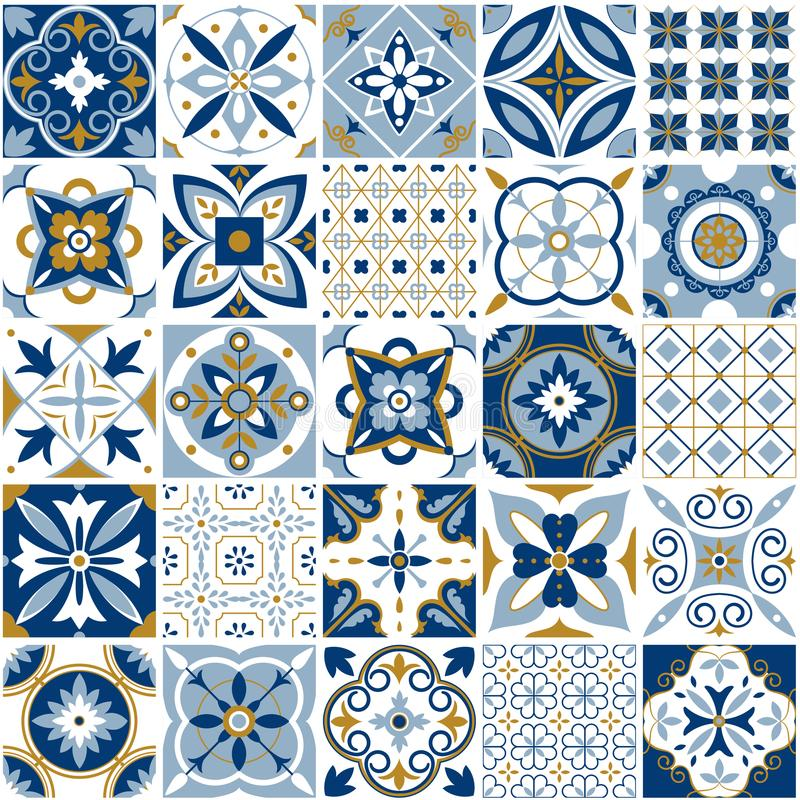 Moroccan pattern. Decor tile texture with blue ornament. Traditional arabic and indian pottery tiling seamless patterns stock illustration