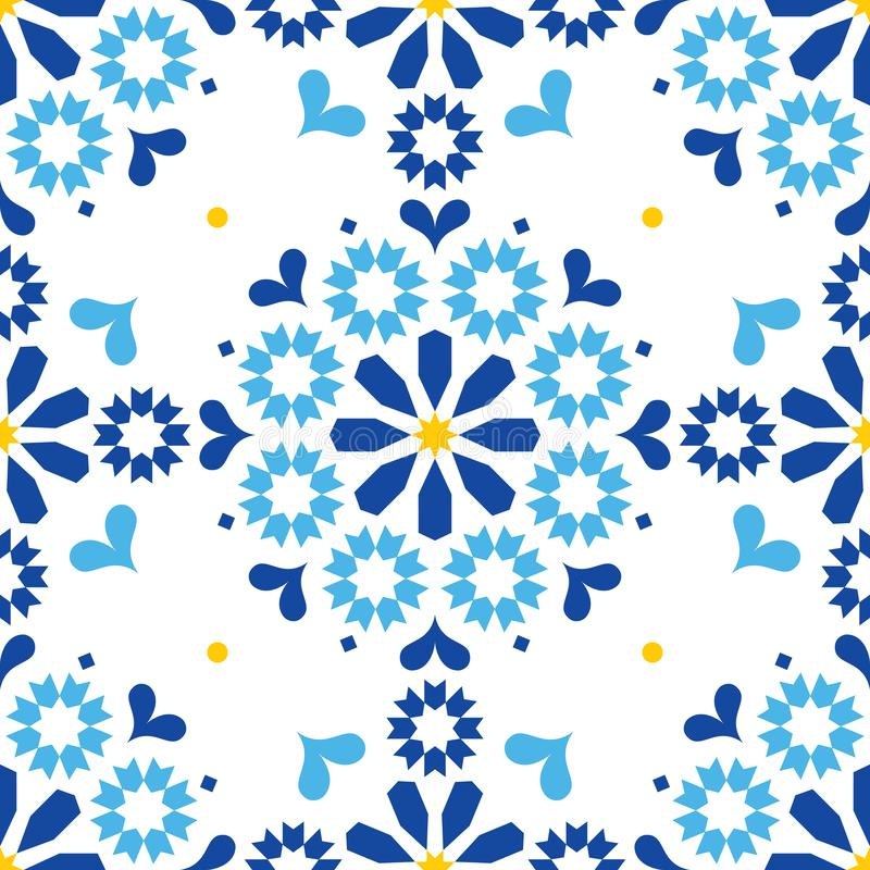 Moroccan or Portuguese vector seamless tile pattern, Azulejo geometric design in navy blue vector illustration